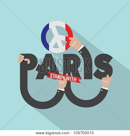 Stand With Paris Typography Design.
