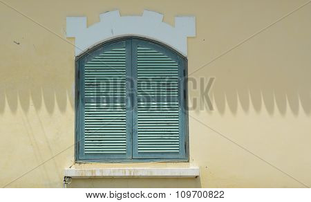 French-style Window With Yellow Wall