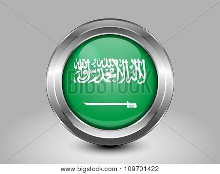 Flag Of Saudi Arabia. Metal Round Icon