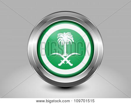 Saudi Arabia Variant Flag. Metal Round Icon