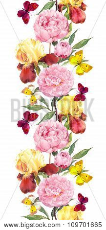Peony, iris flowers and summer butterflies. Repeated border strip. Water color