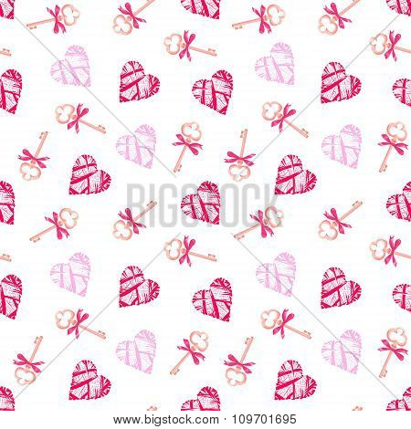 Keys From Valentines Heart Seamless Vector Pattern
