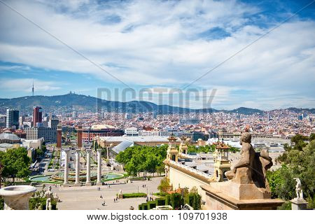 Overview of Les Quatres Columnes, the Four Columns, by Fountain and View of City and Surrounding Mountains on Bright Sunny Day, Barcelona, Spain
