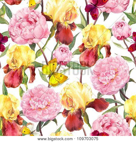 Peonies flowers, irises and butterflies. Seamless floral pattern. Water color