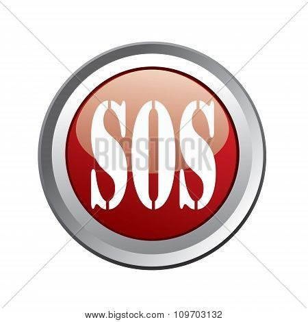 Sos Button Isolated On White