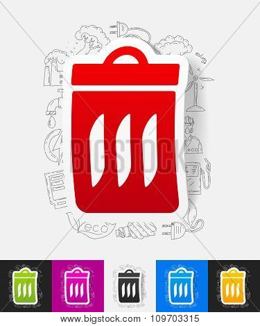 trash can paper sticker with hand drawn elements