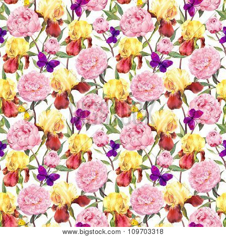 Repeating floral pattern. Peonies flowers, irises and butterflies. Watercolour