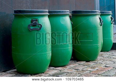 Big Old Green Plastic Barrels