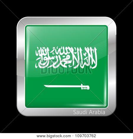 Flag Of Saudi Arabia. Metallic Icon Square Shape
