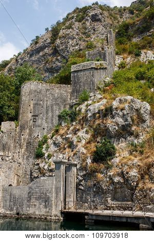The Old Fortress Of Kotor Old Medieval Town. Kotor Is A Part Of The Unesco World Heritage Site.
