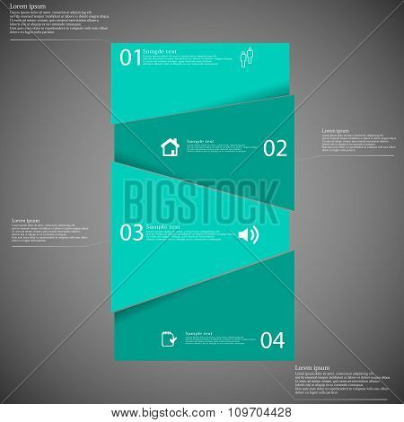Infographic Template With Green Bar Randomly Divided To Four Parts