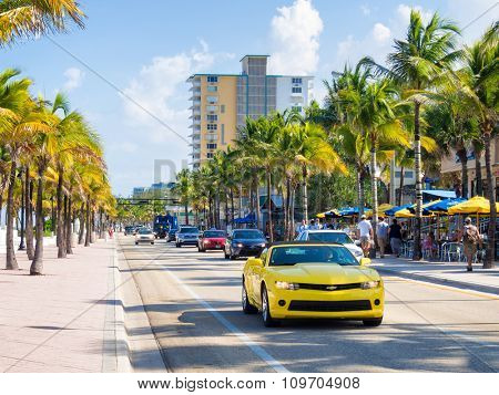 FORT LAUDERDALE,USA - AUGUST 11,2015 : Fort Lauderdale beach in Florida on a summer day