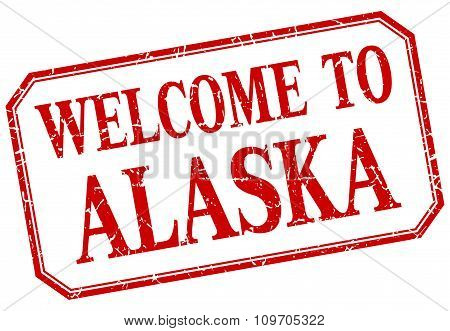 Alaska - Welcome Red Vintage Isolated Label Sign