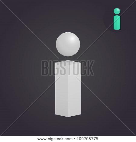 Isometric I Letter Sign