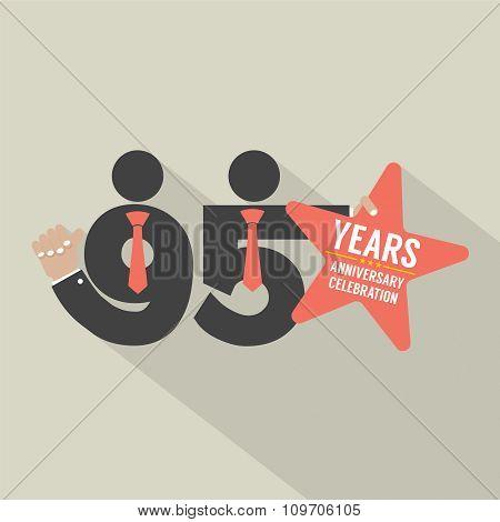 95 Years Anniversary Typography Design.