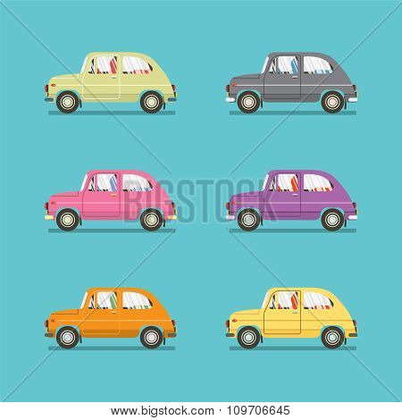 Side View Of Colorful Sedan Cars.