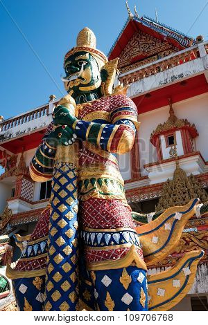 Green Giant Statue Guarding Thai Temple