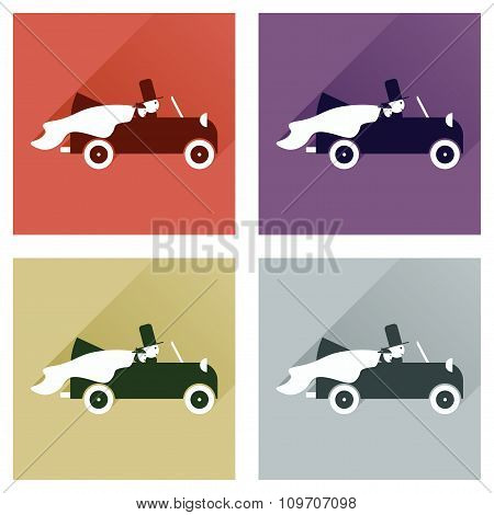 Set of flat icons with shadow bride and groom car