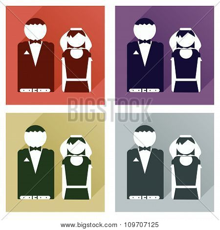 Set of flat icons with long shadow bride and groom