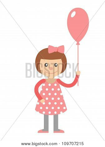 Little Girl With Balloon In Hand.
