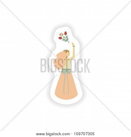 stylish paper sticker on white background bride throws bouquet