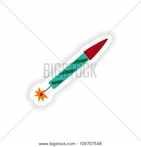 stylish paper sticker on white background rocket fireworks