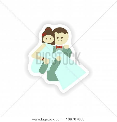 stylish paper sticker on white background groom carries his bride