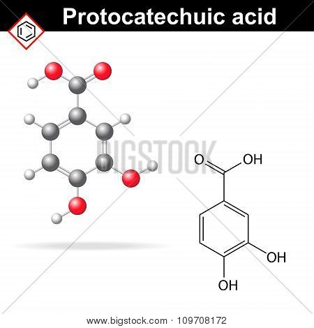 Protocatechuic Acid Model And Chemical Formula
