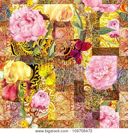 Flowers, butterflies and golden indian ornament. Watercolor seamless pattern