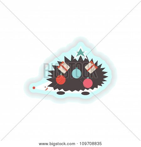 stylish paper sticker on white background Christmas hedgehog