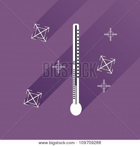 flat icon with long shadow thermometer and snowflakes
