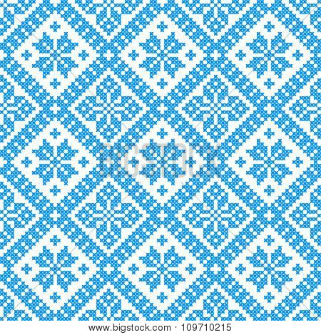 winter color vector seamless pattern. embroidered good like handmade cross-stitch ethnic Ukraine pattern. christmas background