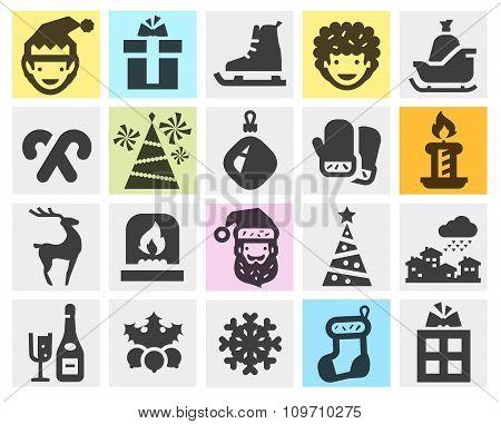 Christmas, xmas set black icons. signs and symbols
