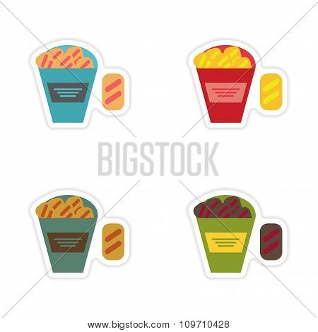 Set of paper stickers on a white background snack crackers