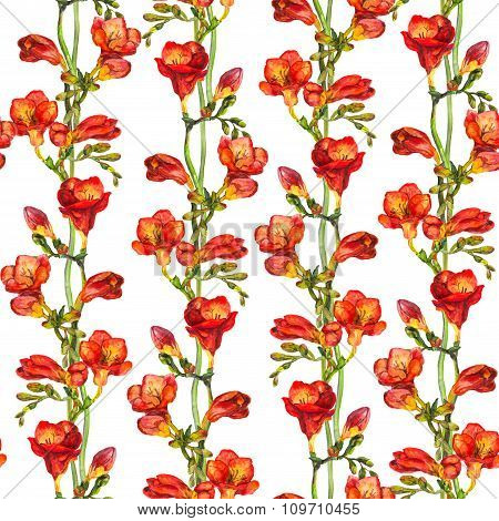 Seamless floral background with hand painted colorful red freesia flowers