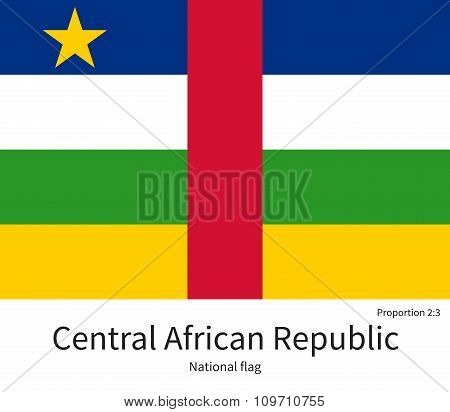 National flag of Central African Republic with correct proportions, element, colors