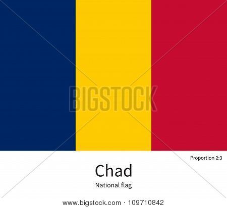 National flag of Chad with correct proportions, element, colors