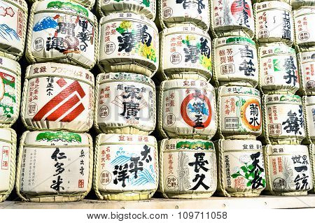 Tokyo - March 2, 2015: Barrels Of Sake Wrapped In Straw In Yoyogi Park Near Meiji Shrine