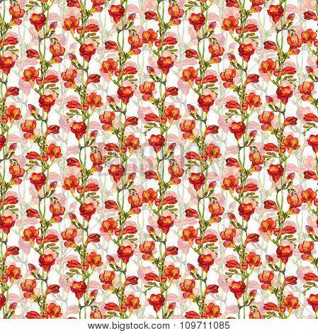 Seamless floral wallpaper with red freesias flowers on green leaves background