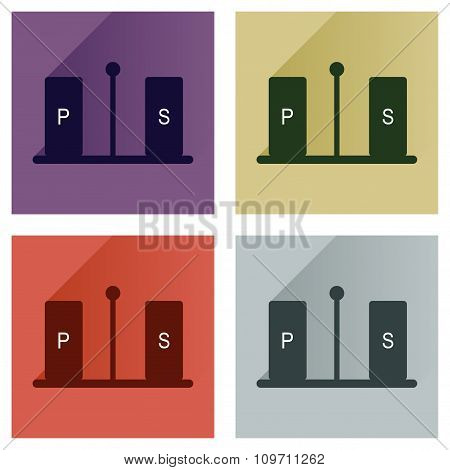 Vector set flat icons with long shadow pepper and salt