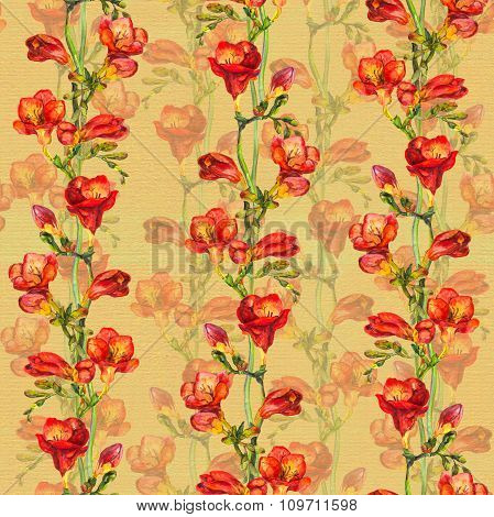 Seamless vintage background with retro freesia flower in floral background on old paper texture