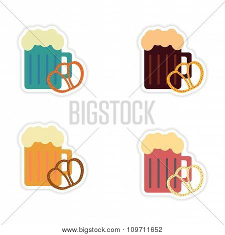 Set of paper stickers on white background glass beer snack