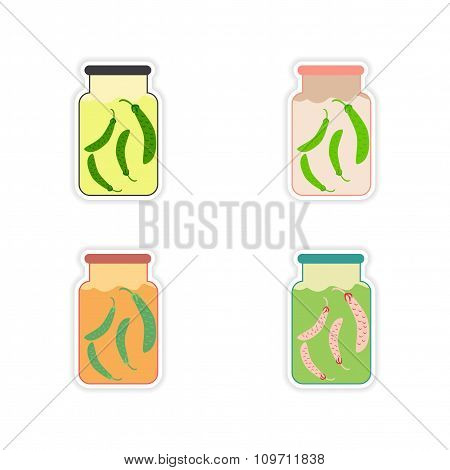 Set of paper stickers on a white background canned peas