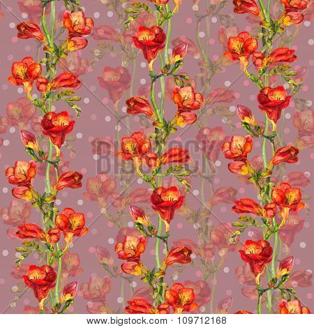 Seamless wallpaper with peas - floral polka design with exotic red freesia flowers