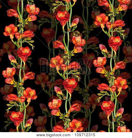 Floral seamless pattern with painted red freesia flower on contrast black background