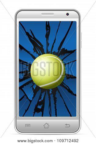 Cracked Smart Phone Tennis