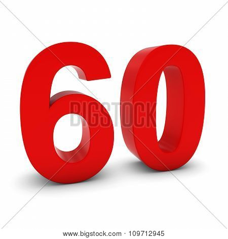 Red 3D Number Sixty Isolated On White With Shadows