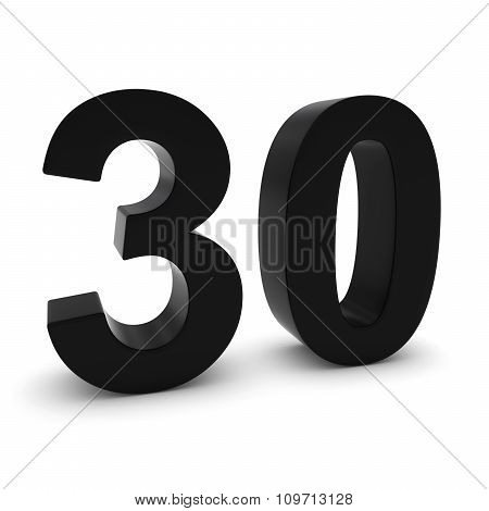Black 3D Number Thirty Isolated On White With Shadows