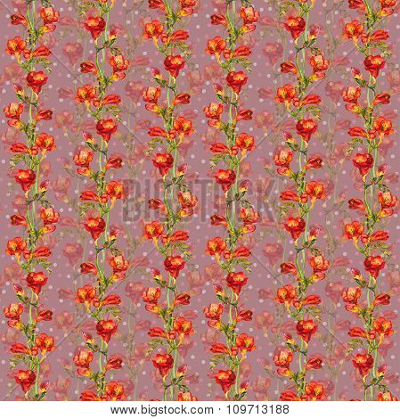 Repeated background with red freesia flowers and pea spots