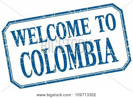 Colombia - Welcome Blue Vintage Isolated Label Sign
